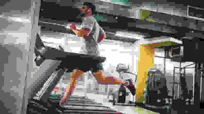 A man running on a treadmill.