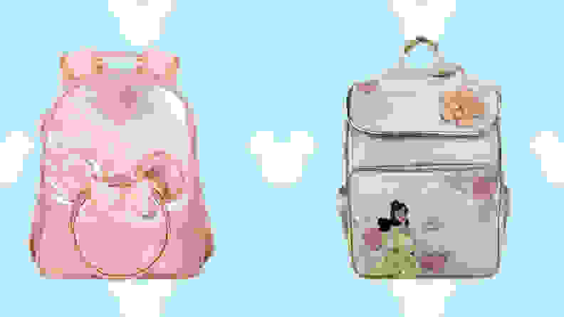 pink minnie mouse backpack and blue belle backpack on light blue disney background.