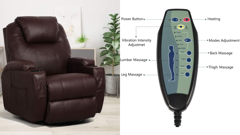 On left, brown leather chair sitting in living room setting. On right, massage remote with multiple buttons.