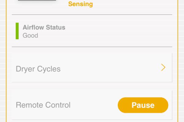 Whirlpool App dryer menu