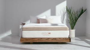 A Saatva mattress sits in a white minimalistic room.