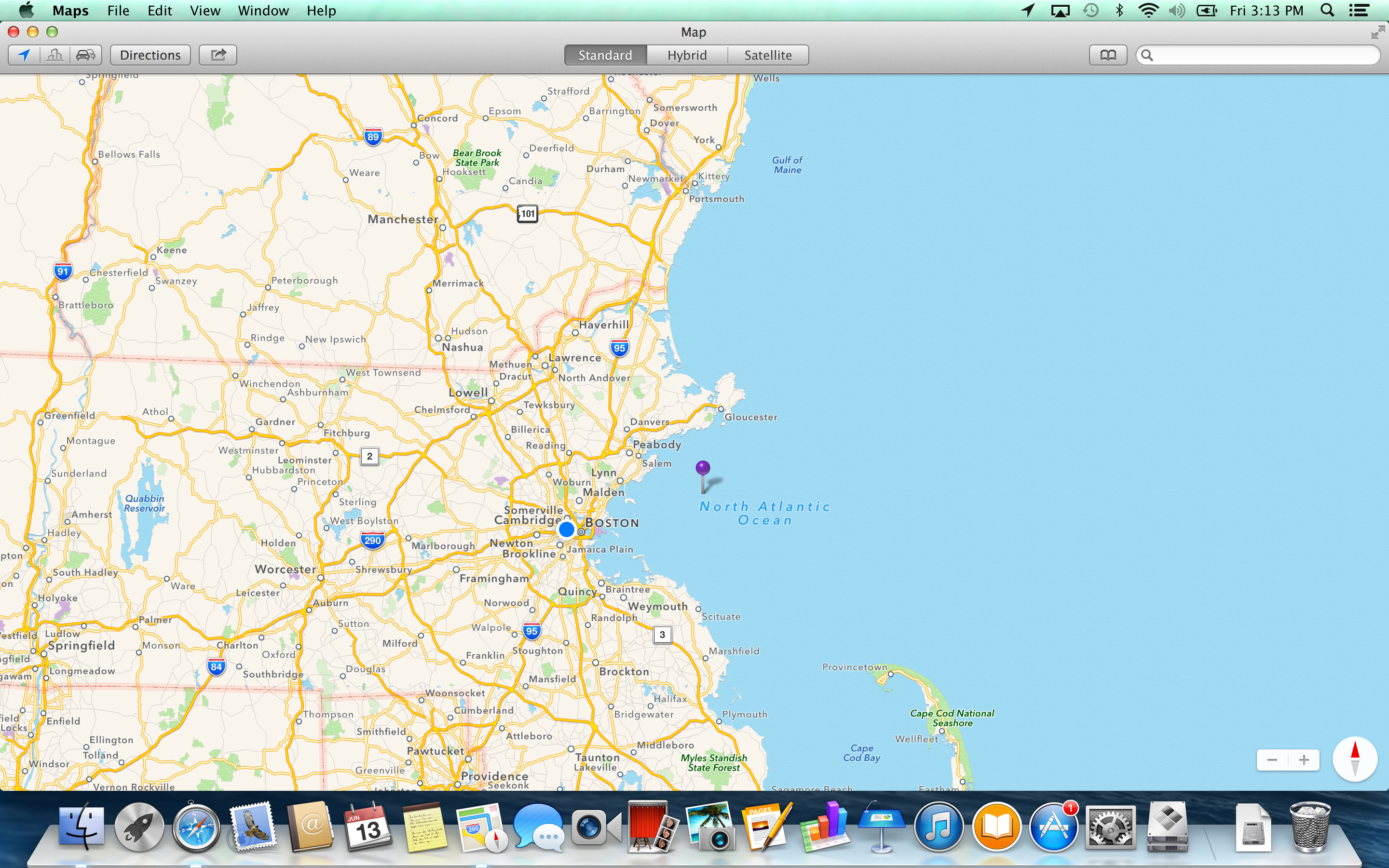 A screenshot of the Apple MacBook Pro with Retina Display's Maps software.