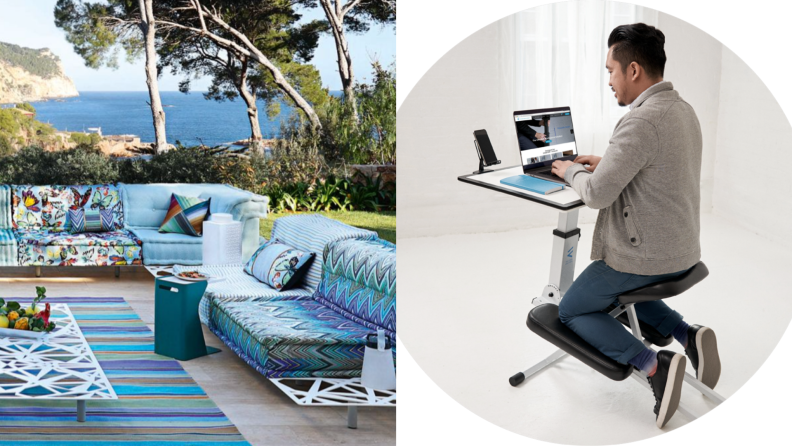 On left, spacious outdoor furniture setting with pedestal from Roche Bobois. On right, man sitting in front of laptop using the Edgedesk.
