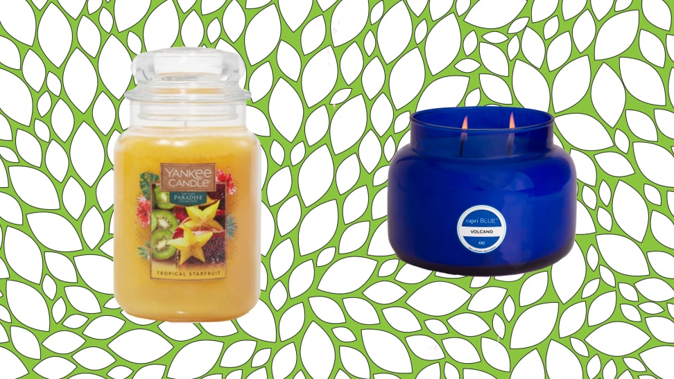 Yankee Candle candle and Capri Blue candle, among the best places to buy candles, against a green abstract background.