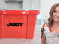 On left, Judy Survival Safe on countertop. On left, person smiling while holding pliers and wearing gloves.