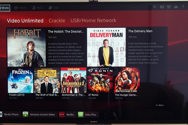 Find movies to watch under Sony's Movies tab.