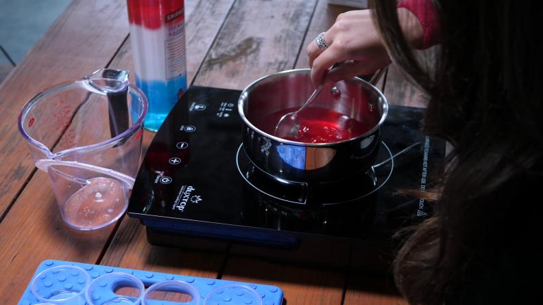 Stirring red Jell-O