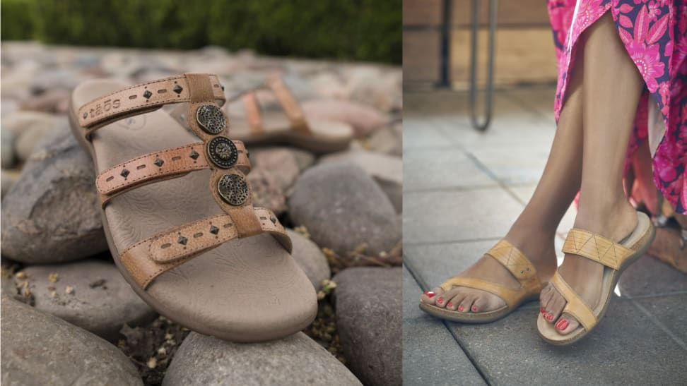 Shoes on rocks; a woman wearing sandals