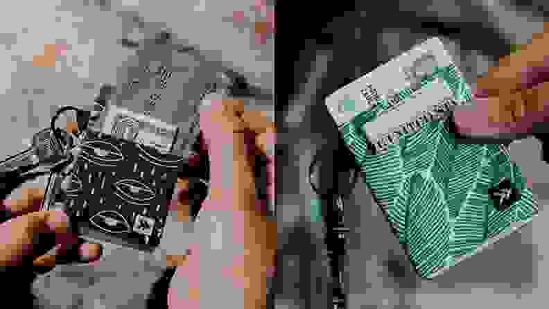 Two images of someone holding a thread wallet.