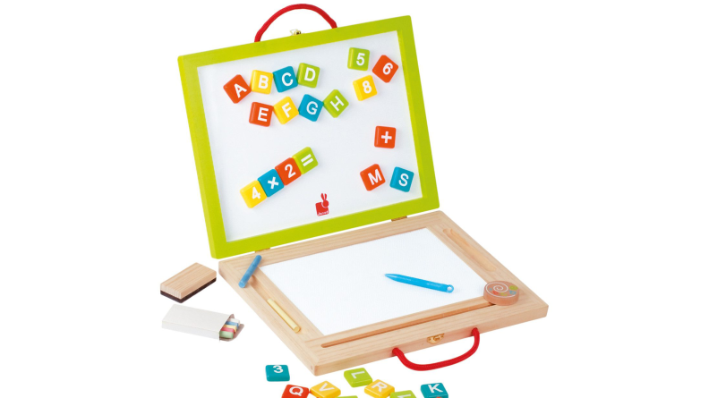 A charming 4-in-1 dry-erase board, chalkboard, magnetic board, and magnetic writing board.