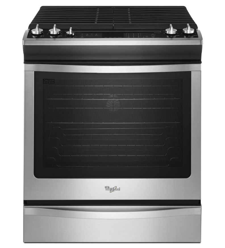 The Whirlpool WEG760H0DS gas range is a bold mix of unusual design and affordable materials.