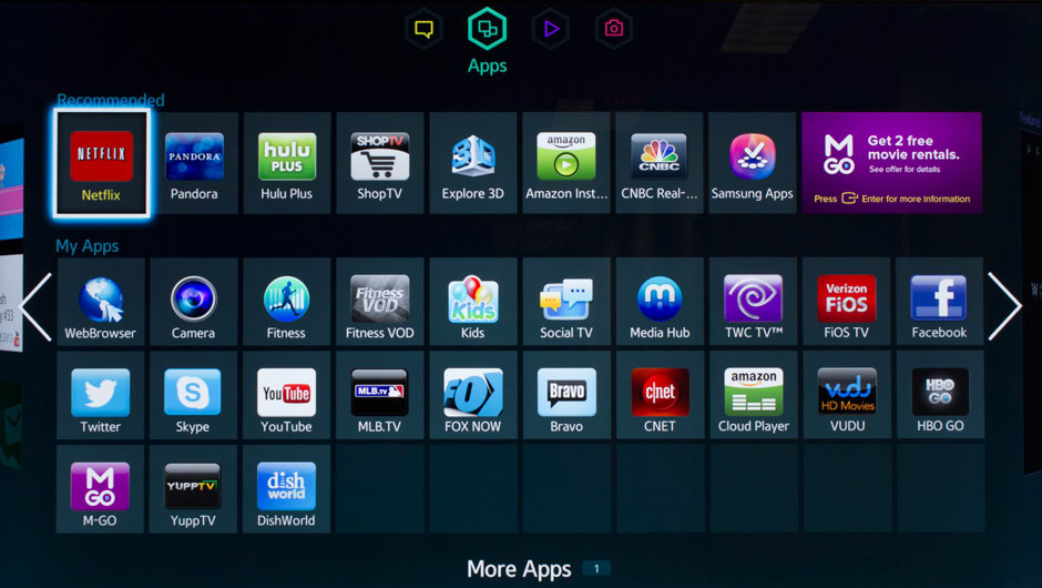 Samsung's Smart Hub includes all the top content-streaming apps.