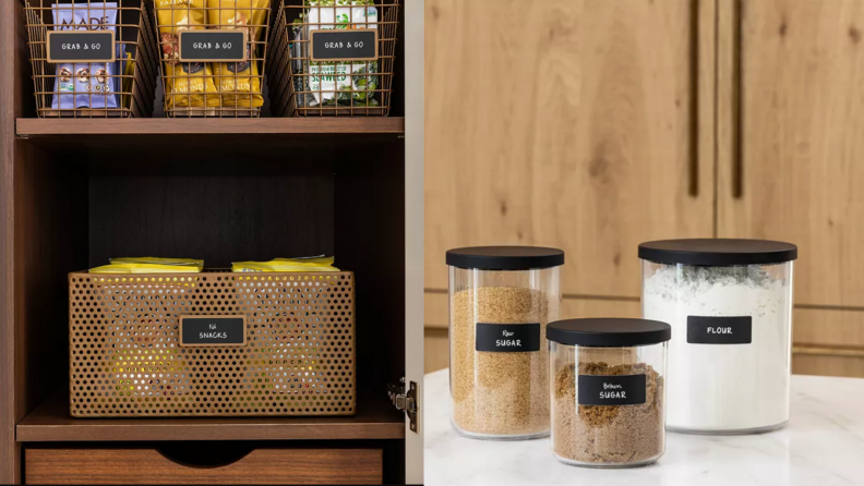 On left, organizational baskets from Neat Method in pantry, filled with snacks. On right, canister collection of three from Neat Method on countertop.