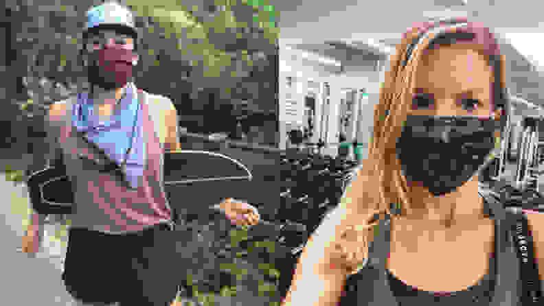 Left: woman wearing athleta mask. Right: woman wearing Champion mask at gym.