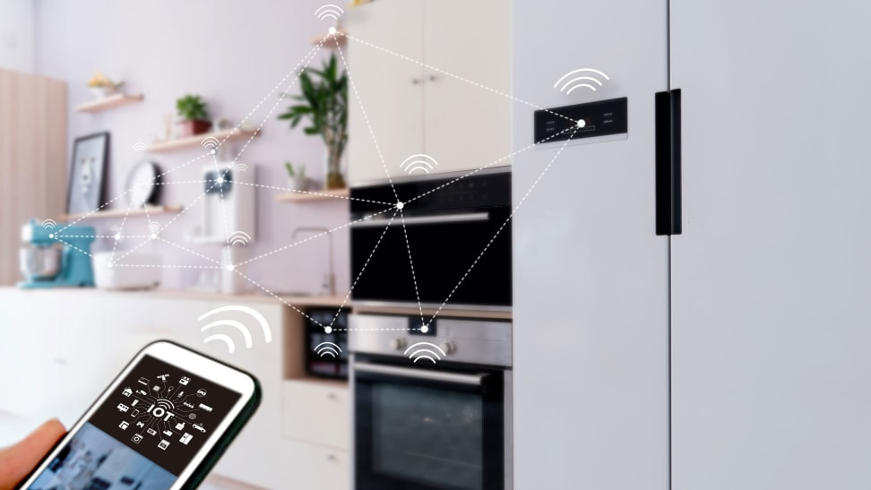 Do your appliances really need WiFi and Bluetooth? In the image, we see a smartphone with some drawn-in WiFi signal symbols and dotted lines showing it's connected to various appliances around the room.