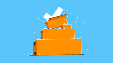 Brown delivery packages in a pile against a blue background