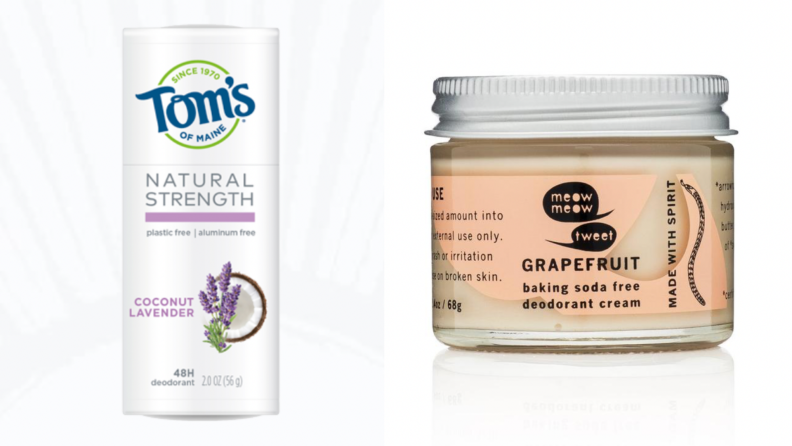 On the left: A stick of Toms of Maine Deodorant. On the right: A jar of Meow Meow Tweet Deodorant