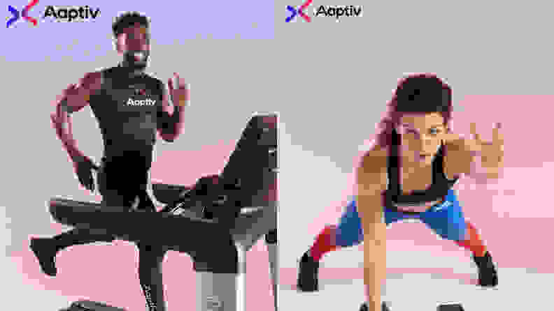 Left: man running on treadmill with aaptiv logo. Right: Woman doing a plank with Aaptiv logo.