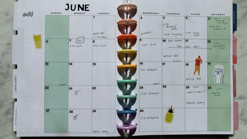 Month of June in a planner.
