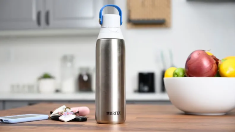 Close up of a metal water bottle.