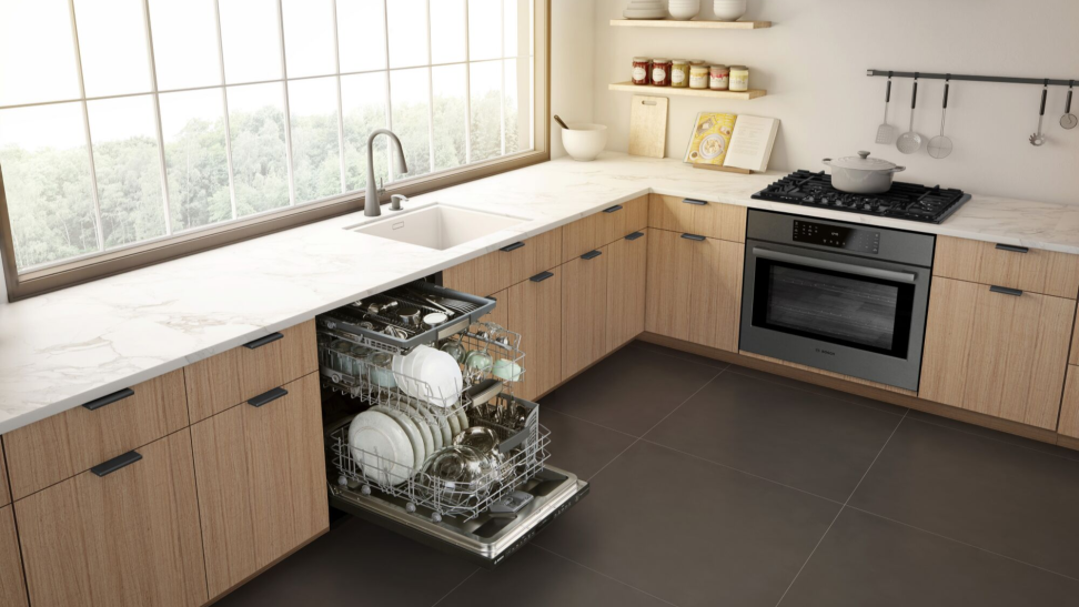 An open Bosch dishwasher