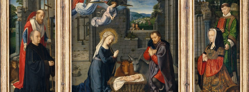 """A crop of Gerard David's """"The Nativity with Donors and Saints Jerome and Leonard"""""""
