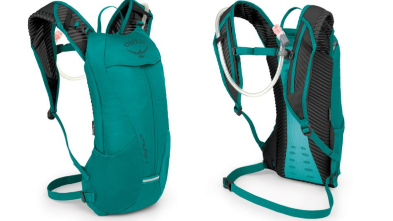 Two identical product shots of REI Osprey Kitsuma 7 Hydration Pack in teal.