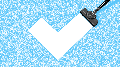 Illustration of blue carpet being cleaned with a vacuum to create the shape of the Reviewed logo (a check mark)