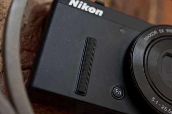 A photograph of the Nikon Coolpix P340's front grip.