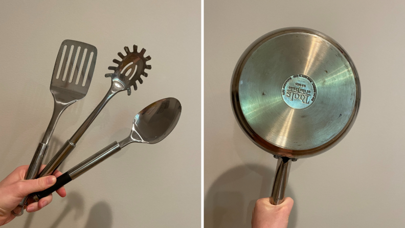 On the left, a hand holding a stainless steel spatula, spoon, and pasta server. On the right, the bottom of a stainless steel frying pan.