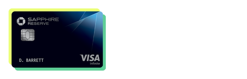 A Chase Sapphire Reserve credit card with a yellow and green border
