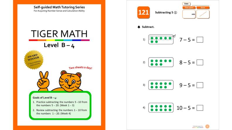 Tiger Math workbooks for kids.