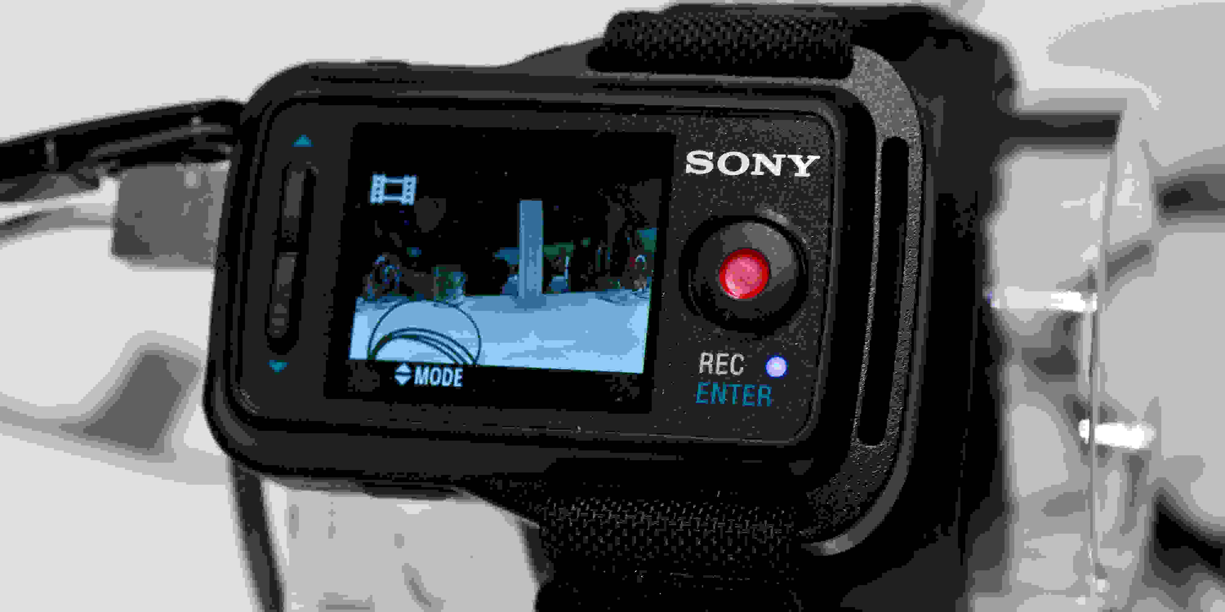 A photograph of the Sony Action Cam FDR-X1000V's optional Live View Remote.