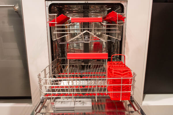 One of the coolest features of Smeg's retro dishwasher is its color-matched internal bits and bobs.
