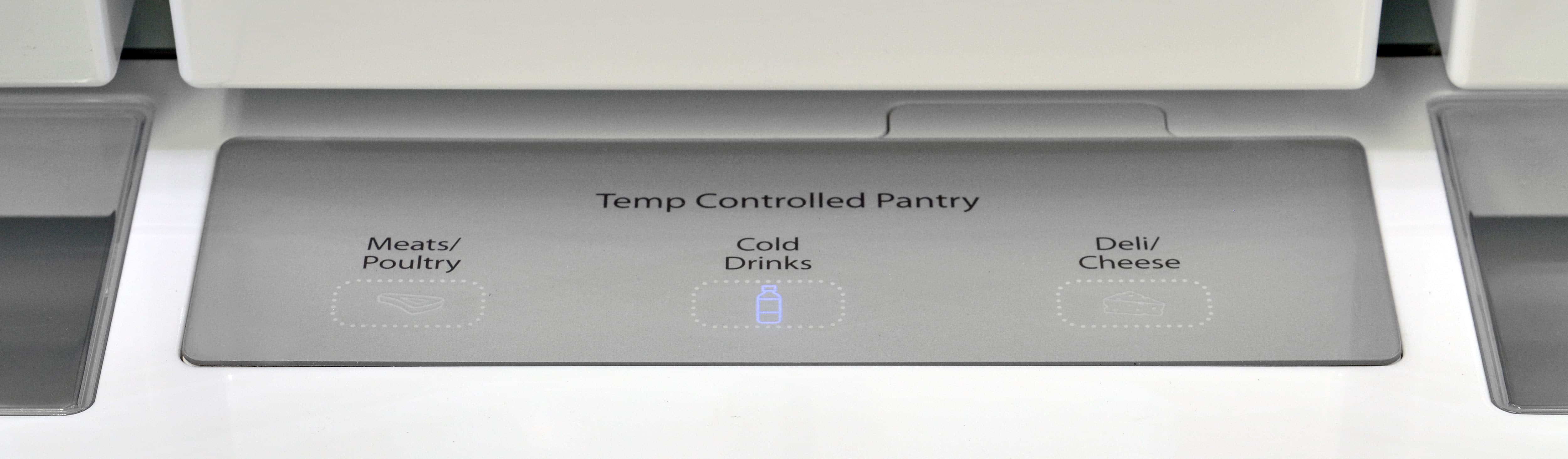 The Whirlpool WRF757SDEM's pantry drawer has three different temperature settings.