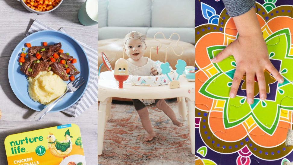 (Left) A Nurture Life meal sits on a plate. (Center) A toddler bounces in an activity play station. (Right) A hand places a final puzzle piece.