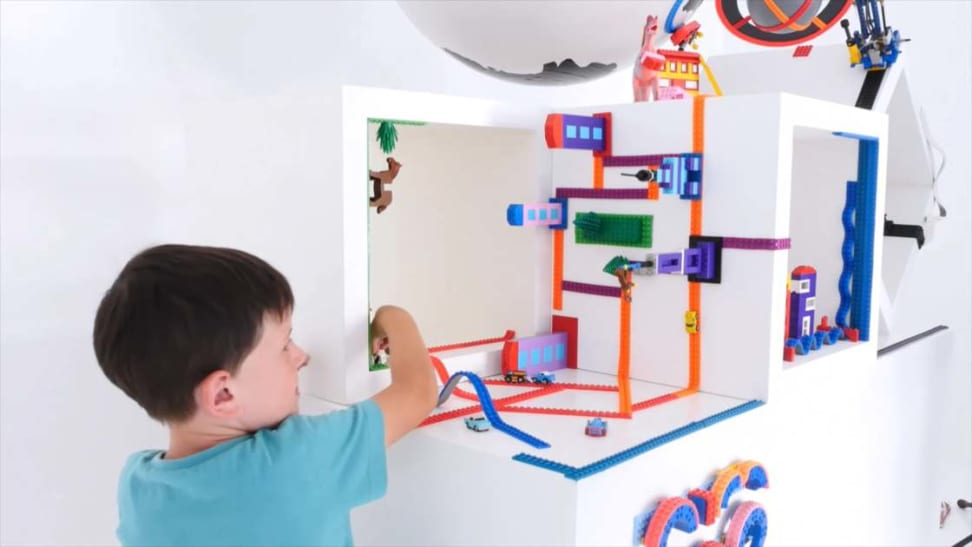 This tape transforms any surface into a base for Lego figures and blocks.