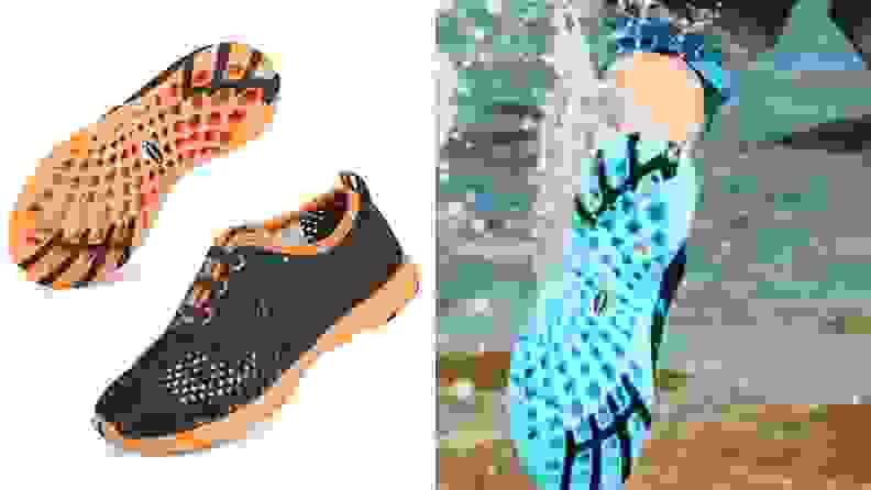 Two pairs of water shoes. One black with orange soles and one turquoise sole in the water.