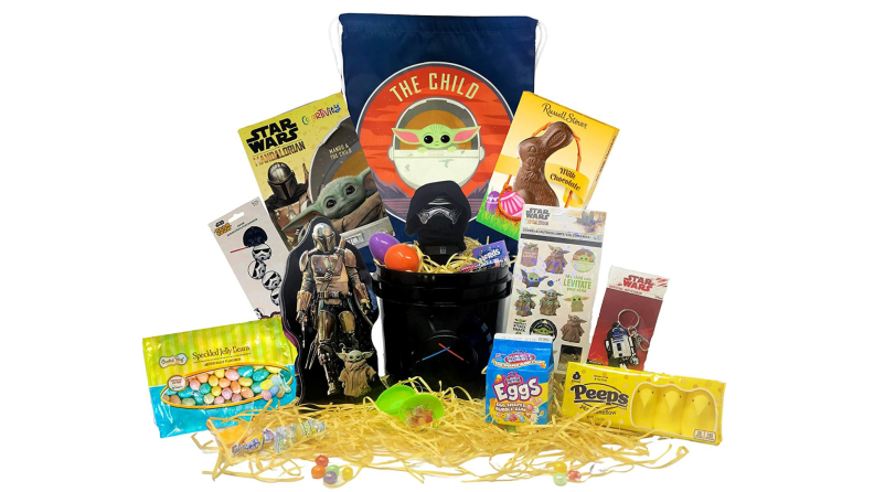 A Star Wars themed Easter basket with toys and candy