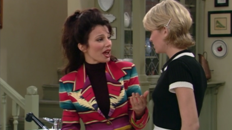 A still from The Nanny featuring Fran Drescher as the nanny.