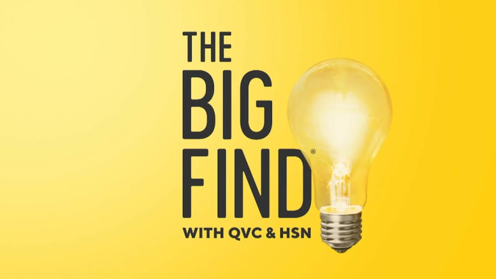 """Text that reads """"The Big Find with QVC and HSN"""" on a yellow background."""