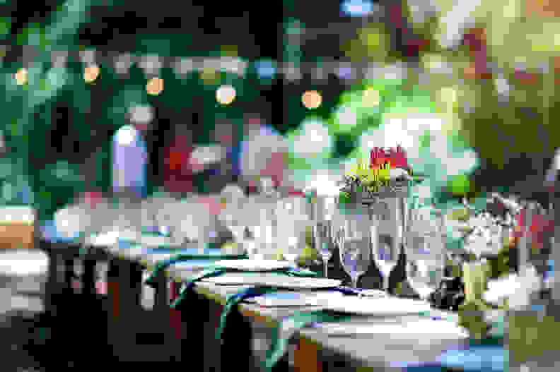 A protea on an outdoor wooden table set for a celebration in a forest during daytime with plates, glasses, napkins, fynbos flower arrangements and string lights and bunting defocussed with people behind Cape Town South Africa