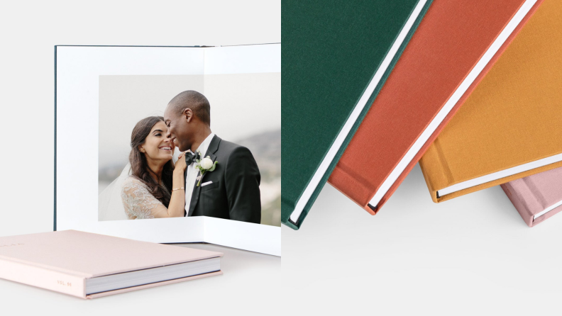 On left, open book that features couple kissing on their wedding day. On right, multi-colored books lined up.