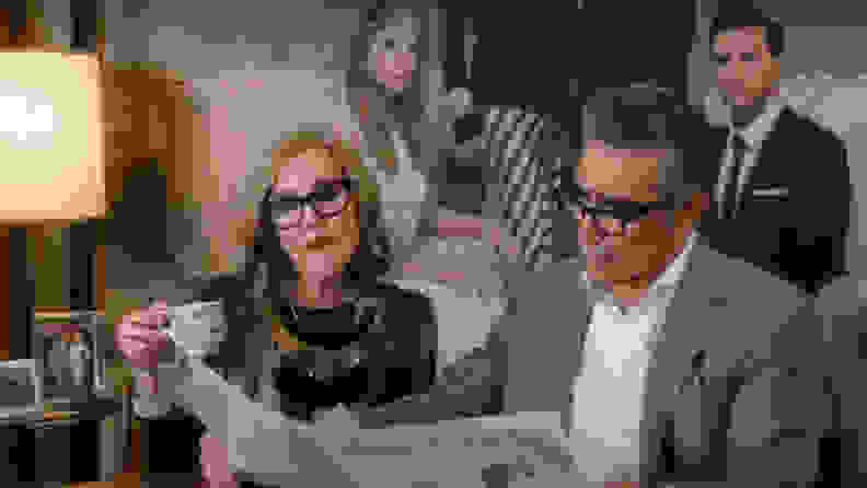 Catherine O'Hara and Eugene Levy in Schitt's Creek.