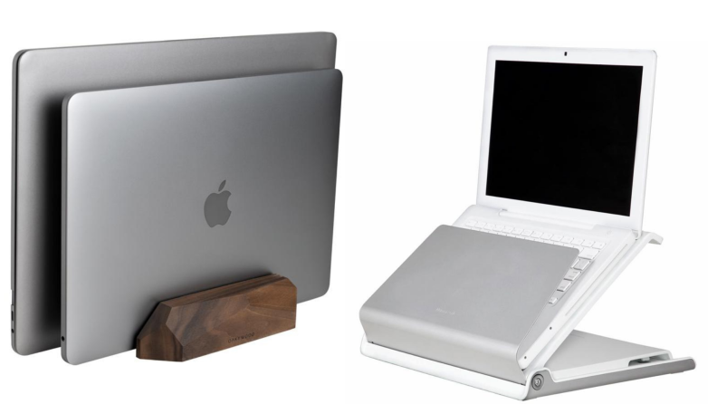 On left, two gray Apple laptops stacked together in the Oakywood dual vertical laptop stand. On right, one white Apple laptop in the Humanscale L6 laptop holder.