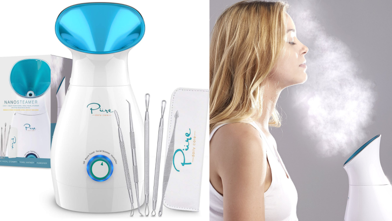 On the left: the steamer next to the set of skin care tools that included. On the right: A woman standing in front of the steamer and using it on her face.