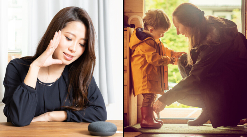 Woman talk to Google Home Mini and Woman dressing little boy in a jacket