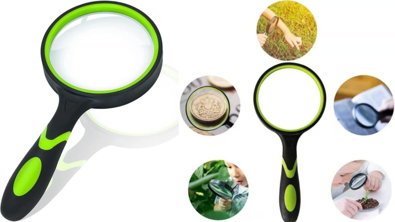 On left, black and green magnifying glass. On right, green and black magnifying glass surrounded by 5 images.