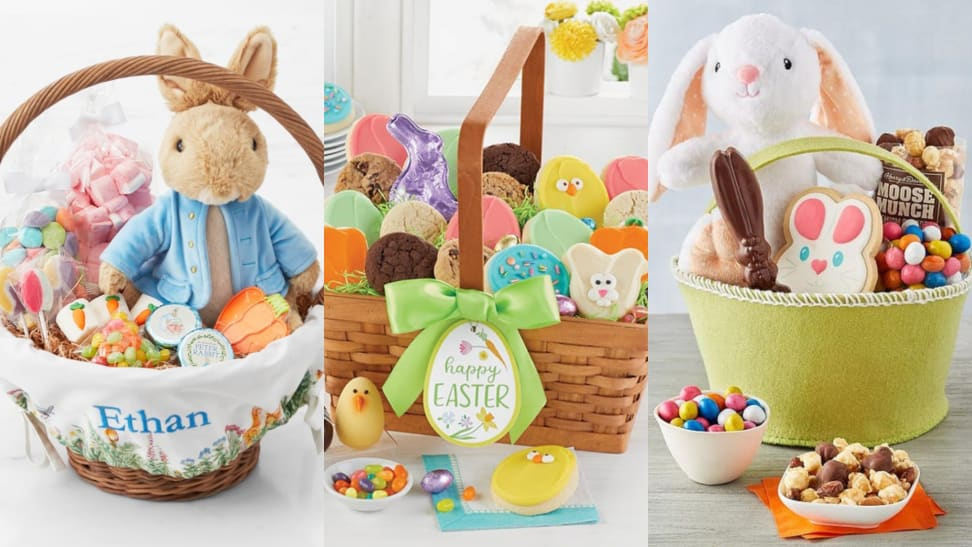 Three Easter baskets full of sweets and treats.