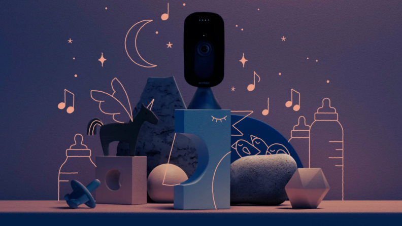 Ecobee SmartCamera surrounded by multi-colored building blocks, a blue pacifier and drawings of music notes, baby bottles, stars and the moon.